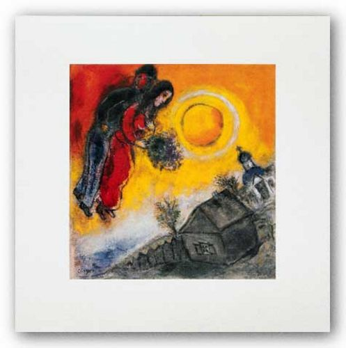Le Couple Au Ciel Jaune by Marc Chagall