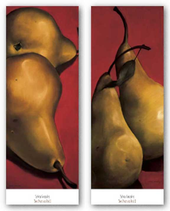 Two Pears on Red Set by Sylvia Gonzalez