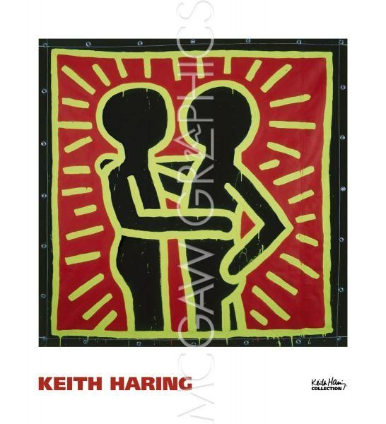 Untitled, 1982 (couple in black, red, and green) by Keith Haring