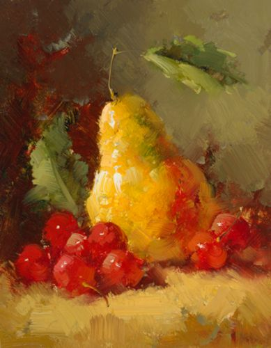 Pears and Cherries I by Vera Oxley