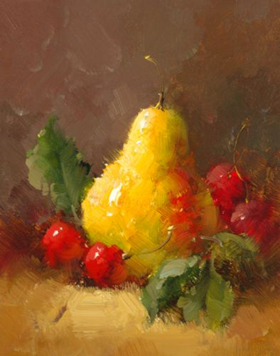 Pears and Cherries II by Vera Oxley