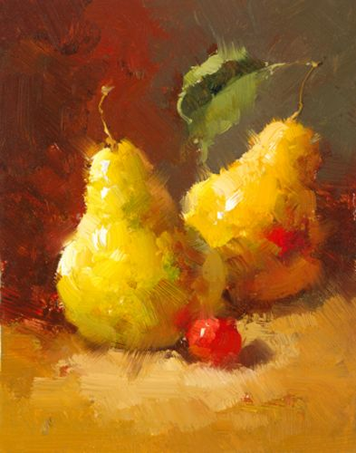 Pears and Cherries III by Vera Oxley