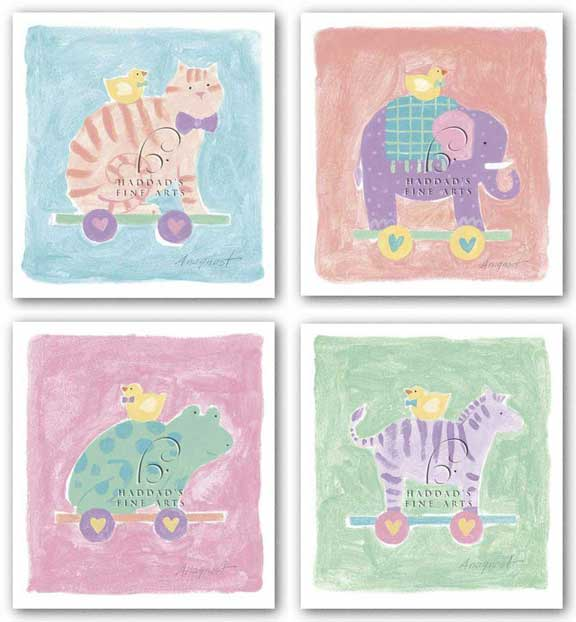 Cat, Elephant, Frog, and Zebra Toy Set by Karen Anagnost