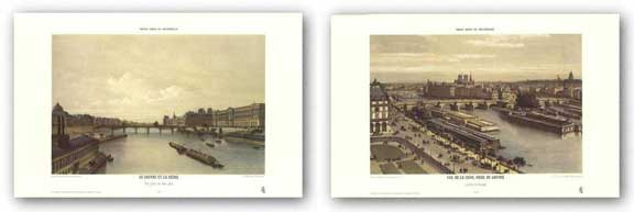 View of the Seine From the Louvre and View of the Louvre From the Seine Set by P.H. Benoist