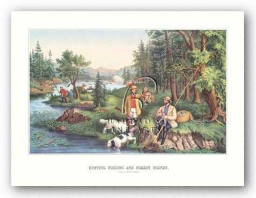 Hunting Fishing and Forest Scenes by Currier and Ives