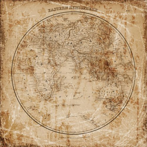 Antique Map Eastern Hemisphere by Mauro Cardoza