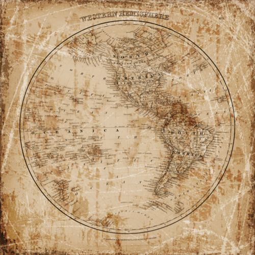 Antique Map Western Hemisphere by Mauro Cardoza