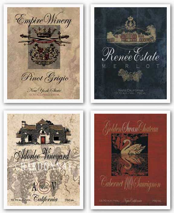 Wine Labels Set by Ralph Burch