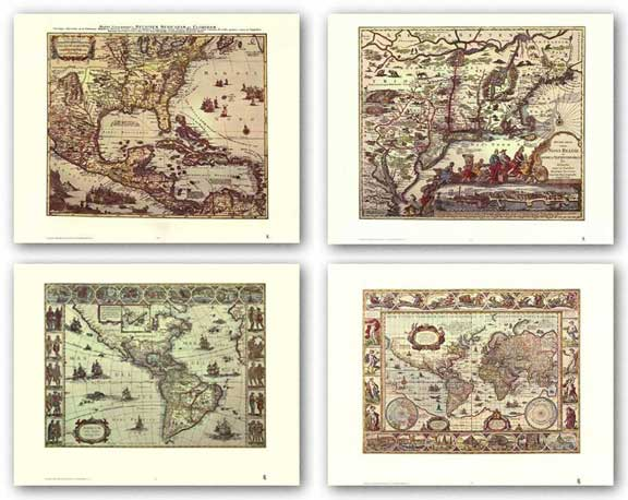 Maps Set (Four Maps) by Joan Blaeu