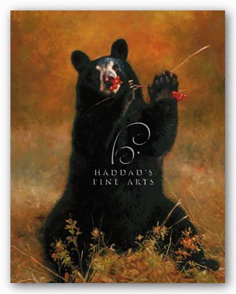 Black Bear with Berries by H Kendrick