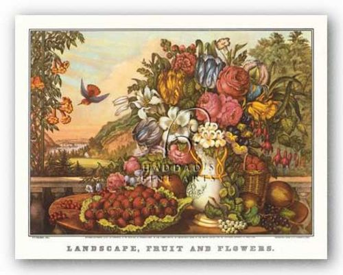 Landscape, Fruit and Flowers by Currier and Ives