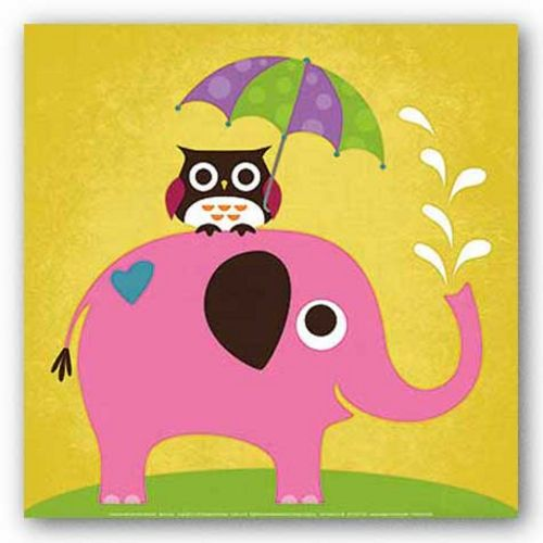 Elephant And Owl With Umbrella by Nancy Lee