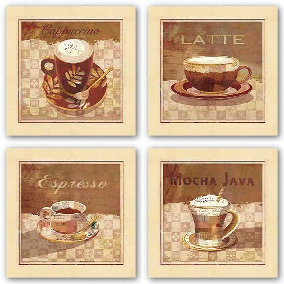 Mocha Java, Cappuccino, Latte, and Espresso Set by Linda Maron