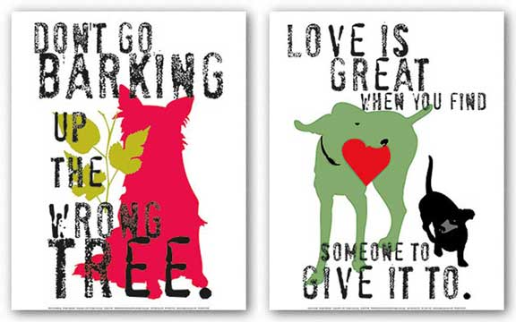 Love Is Great and Don't Go Barking Set by Ginger Oliphant