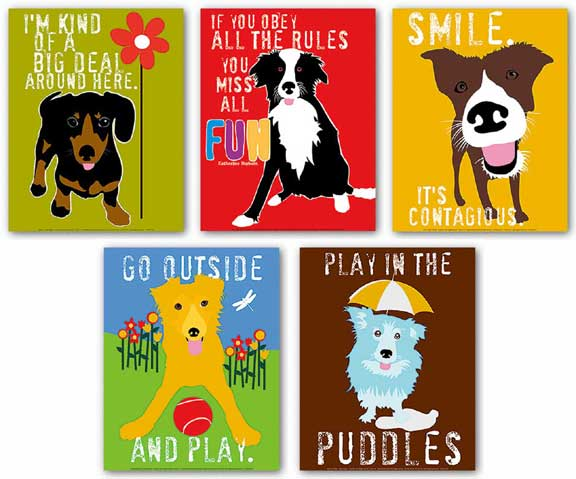 Dog Set (Five Prints) by Ginger Oliphant