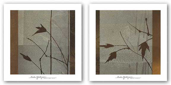 Umber Leaves - Umber and Gold Set by Linda Yoshizawa