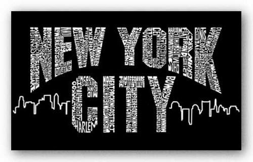 New York City Boroughs on Black by L.A. Pop Art