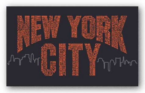New York City Boroughs (orange on navy) by L.A. Pop Art