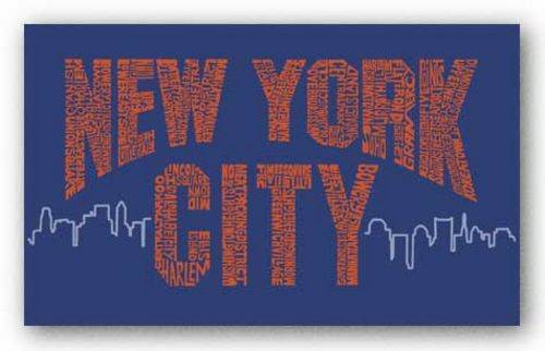 New York City Boroughs (orange on blue) by L.A. Pop Art
