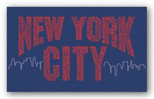 New York City Boroughs (red on blue) by L.A. Pop Art