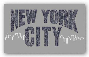 New York City Boroughs (navy on grey) by L.A. Pop Art