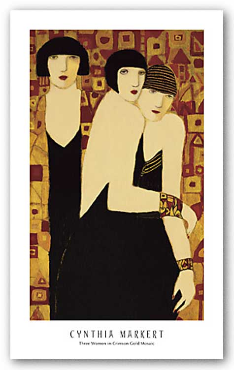 Three Women in Crimson Gold Mosaic by Cynthia Markert