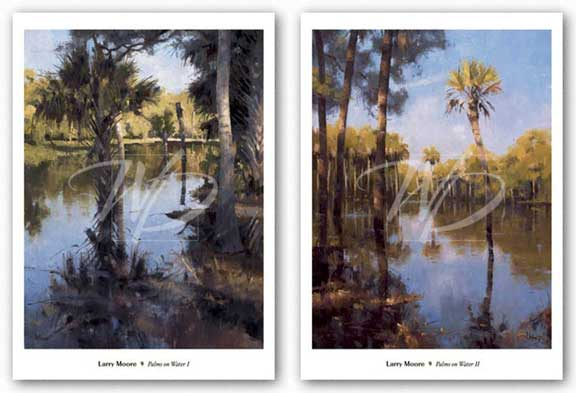 Palms on Water Set by Larry Moore