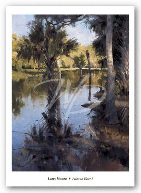 Palms on Water I by Larry Moore