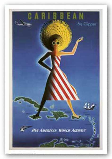 Caribbean By Clipper by Reproduction Vintage Poster