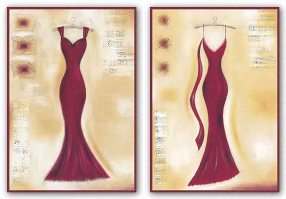 Red Evening Gown Set by Lucy Barnard