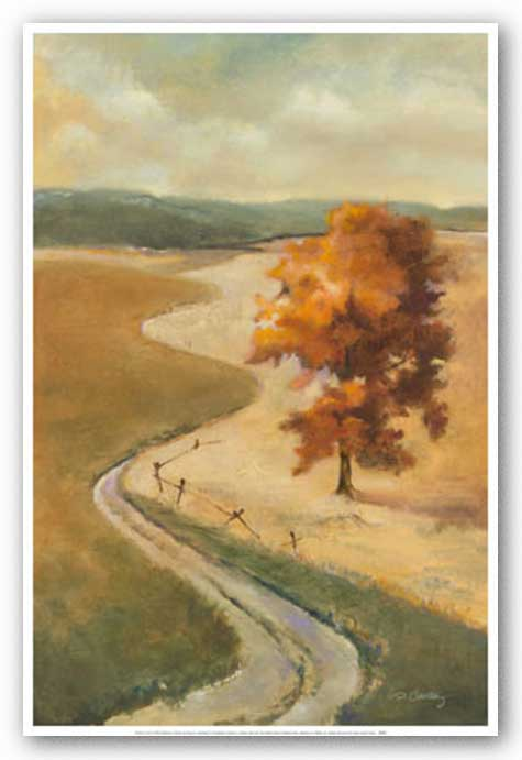 Winding Road With Gold Leaves by Dennis Carney