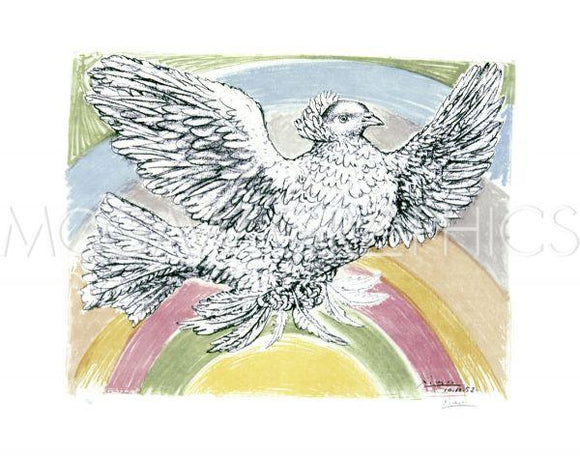 Flying Dove with Rainbow Background, 1952 by Pablo Picasso