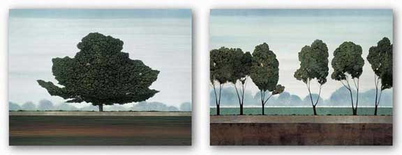 Majestic and Six Trees Set (Silver Foil) by Robert Charon