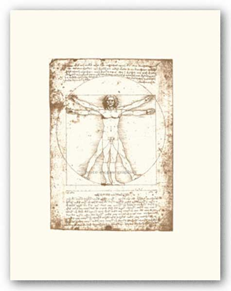 The Vitruvian Man (serigraph and embossed) by Leonardo da Vinci