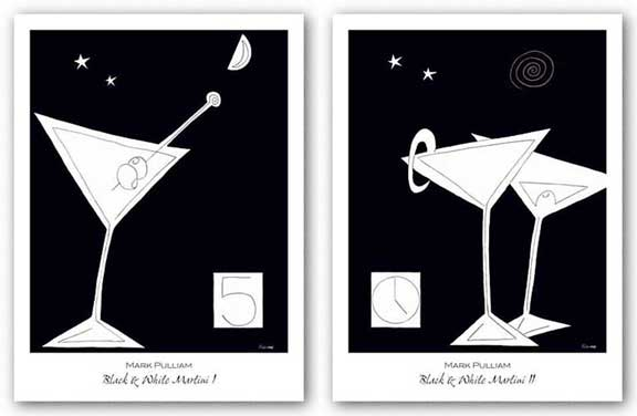 Black and White Martini Set by Mark Pulliam