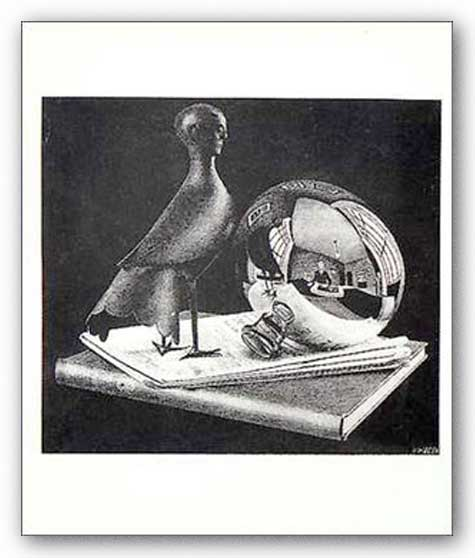Still Life and Reflecting Globe (Sphere) by M.C. Escher
