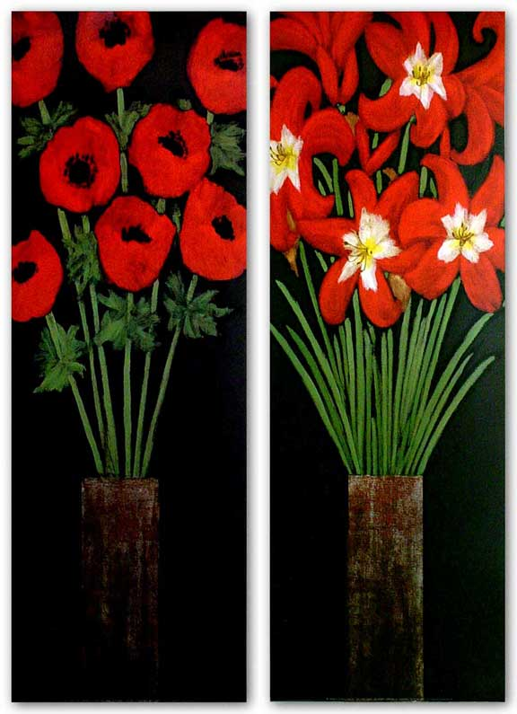 Red Hot Lilies and Red Hot Poppies Set by Rachel Rafferty