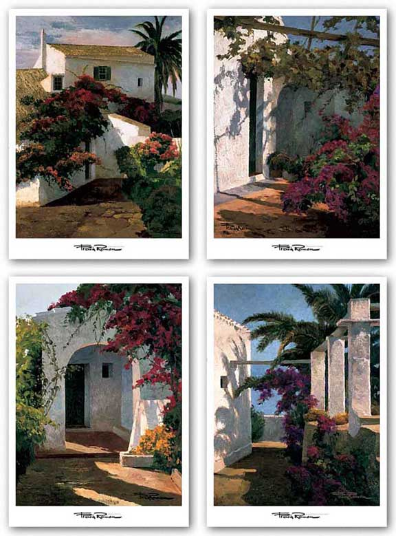 Bougainvillea and Palm Trees-Porch Daylight-Bougainvillea and Vine-Courtyard Blossoms Set by Poch Romeu