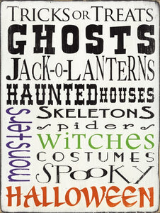 Tricks or Treats Halloween Ghosts Skeletons Witches White by Barn Owl Primitives