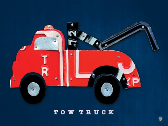 Tow Truck License Plate Collage by Design Turnpike