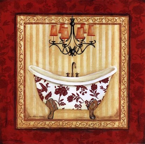 Red Demask Bath I by Jo Moulton