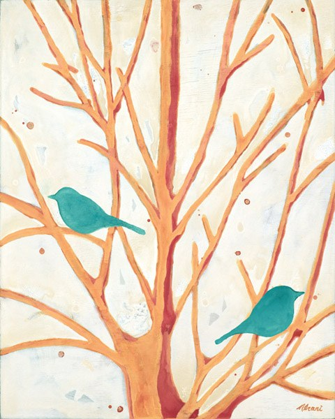 Two Birds In An Orange Tree by Ninalee Irani