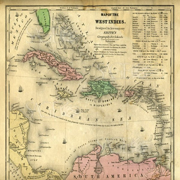 Map Of The West Indies by Pied Piper