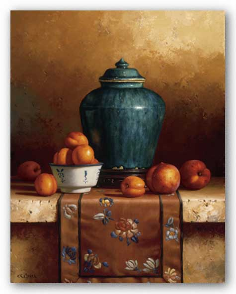 Ginger Jar with Peaches, Apricots and Tapestry by Loran Speck