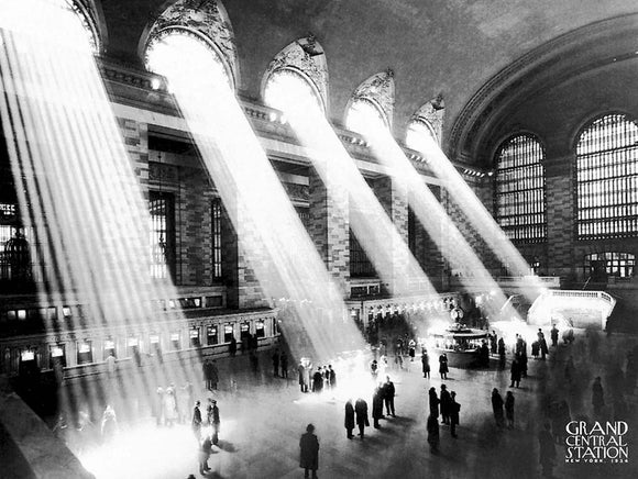 Grand Central Station Sun Beams 1934  by Kurt Hulton