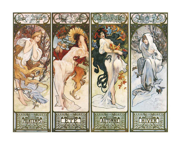 Les Saisons The Four Seasons by Alphonse Mucha