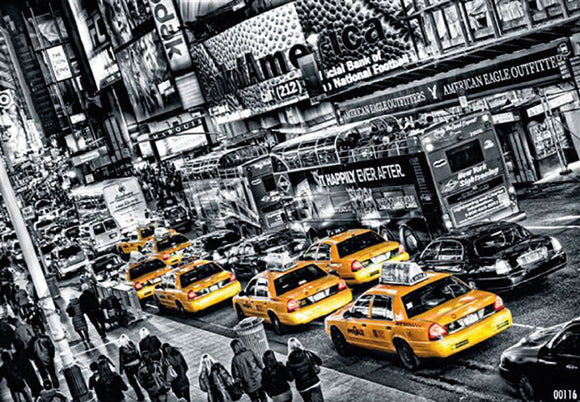 Cabs Queued up for Times Square by Michael Feldmann