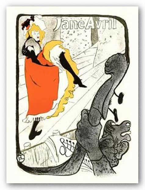 Jane Avril, Dancing - Lithograph by Henri de Toulouse-Lautrec