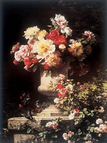 Peonies and Roses by Lemaire Louis-Marie