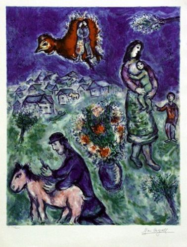 Sur la Route du Village - Giclee interpretation by Marc Chagall